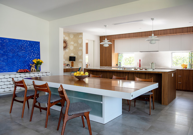 Mid-century Modern Home with Open Floor Plan Kitchen and Dining Room Design Intervention Modern Dining Room