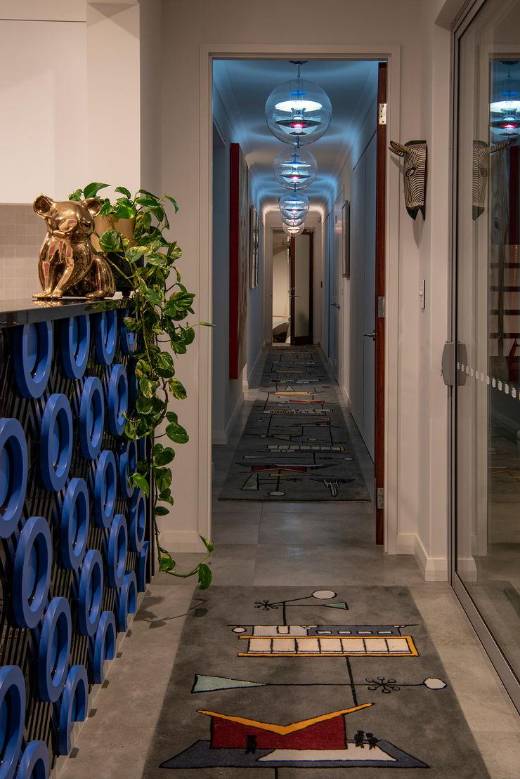 Mid-century Home Long Corridor Design Design Intervention Modern Corridor, Hallway and Staircase