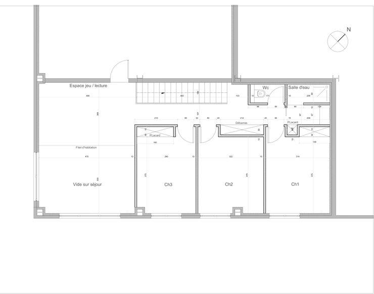 PLAN ETAGE Lionel CERTIER - Architecture d'intérieur Chambre moderne