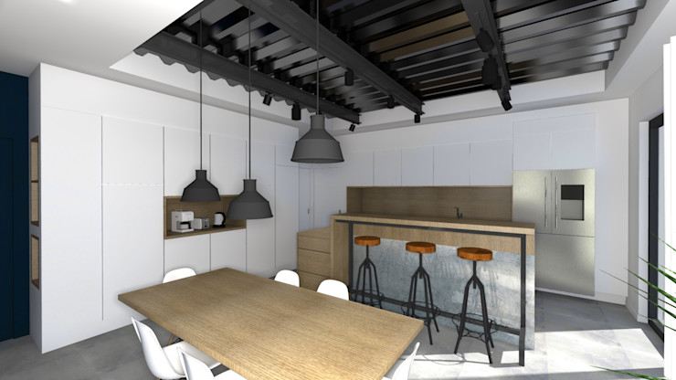 VUE SUR CUISINE OUVERTE Lionel CERTIER - Architecture d'intérieur Cuisine intégrée