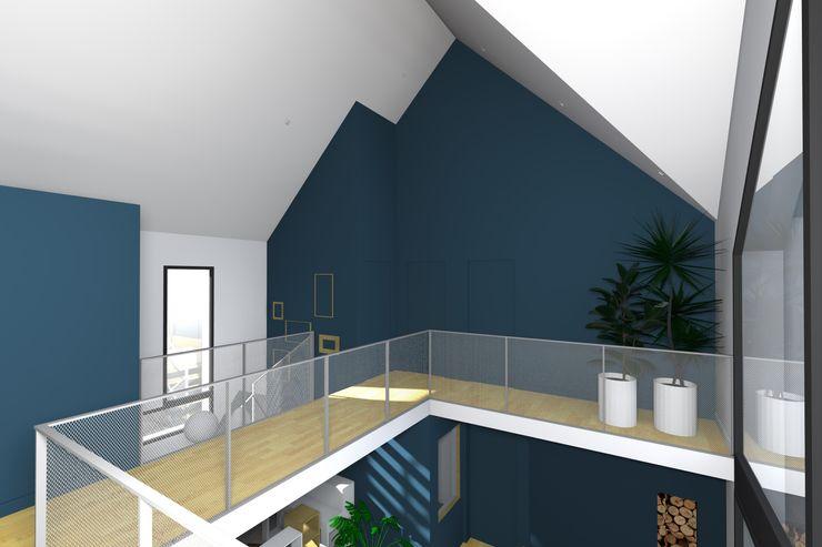 VUE DEPUIS LA MEZZANINE Lionel CERTIER - Architecture d'intérieur Couloir, entrée, escaliers modernes