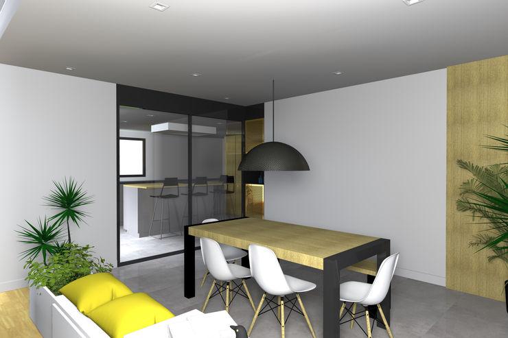 VUE SUR SALLE A MANGER ET CUISINE Lionel CERTIER - Architecture d'intérieur Cuisine intégrée