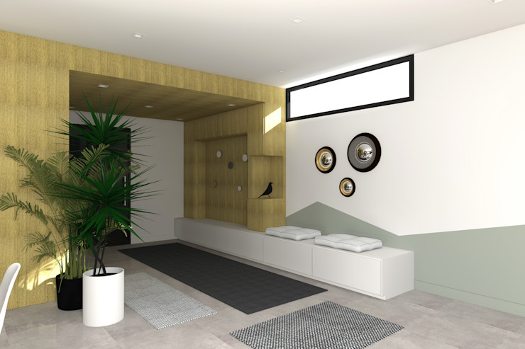 VUE SUR L'ENTREE Lionel CERTIER - Architecture d'intérieur Couloir, entrée, escaliers modernes
