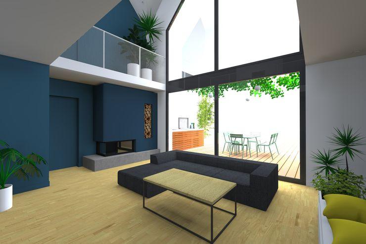 VUE SUR SEJOUR Lionel CERTIER - Architecture d'intérieur Salle à manger moderne