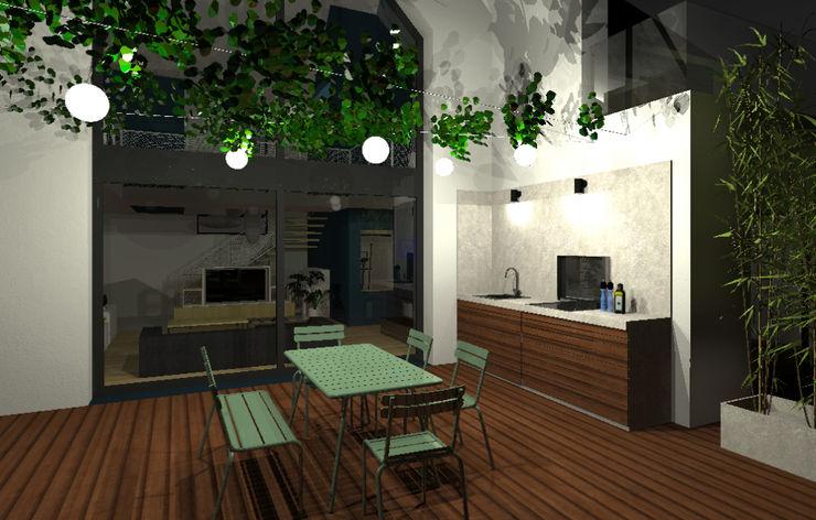 VUE SUR CUISINE D'ETE ET TERRASSE Lionel CERTIER - Architecture d'intérieur Balcon, Veranda & Terrasse modernes