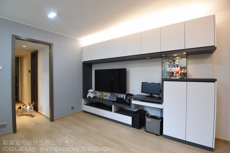 彩葉室內設計工程公司 Modern living room Plywood White