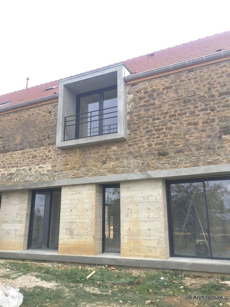 Vue des nouvelles baies de la grange 3B Architecture Maison individuelle