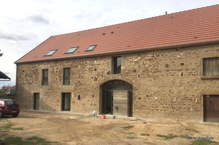 Vue de la façade d'entrée 3B Architecture Maison passive