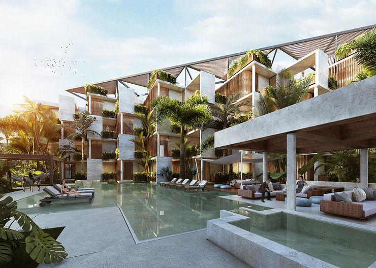 Vista desde las Amenidades Arquitectura Individual Casas multifamiliares Concreto
