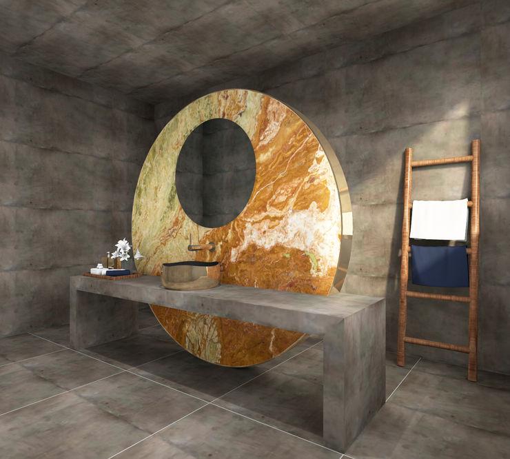 Marketingvisualisierung! Im Focus steht das Waschbecken in Kombination mit dem Stein. Baddesign Tanja Maier Ausgefallene Badezimmer Glas