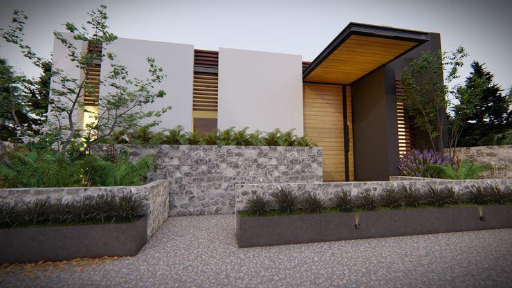 Fachada Frontal VGC Casas modernas Blanco