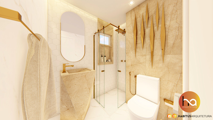 01 Habitus Arquitetura Banheiros modernos Cerâmica Branco