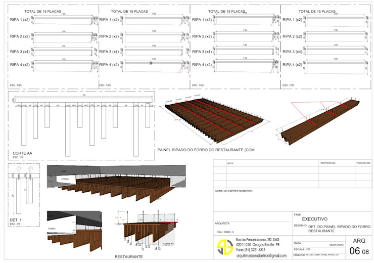 Detalhe do painel (septos amadeirados/ripas) do forro - restaurante Arquitetura Sônia Beltrão & associados
