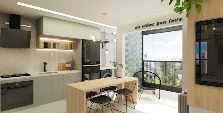 Cozinha e Varanda Integradas Arquiteto Virtual - Projetos On lIne Cozinhas pequenas Madeira Cinza