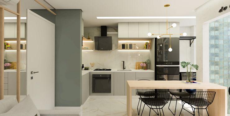 Cozinha totalmente Integrada Arquiteto Virtual - Projetos On lIne Cozinhas pequenas Quartzo Cinza