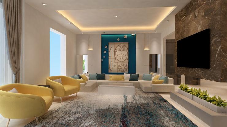 HC Designs Ruang Keluarga Minimalis Marmer Beige