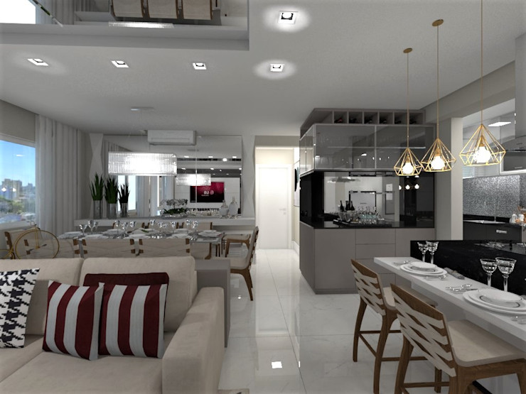 Sala de Estar integrada com Sala de Jantar FMStudio Arquitetura Salas de estar modernas Vidro Branco
