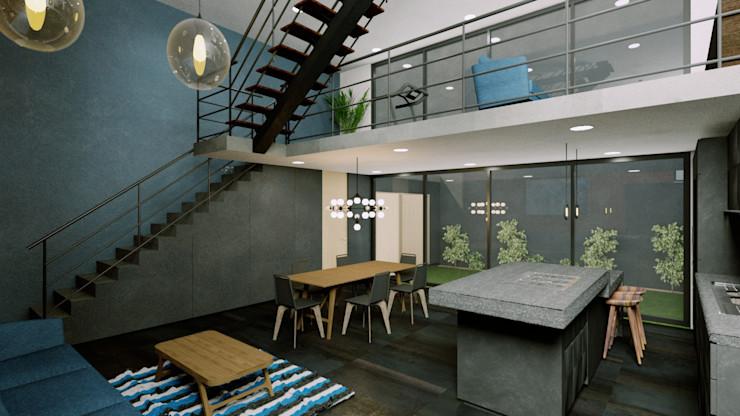 Sala, Comedor, Cocina Boom Taller de Arquitectura Salones industriales