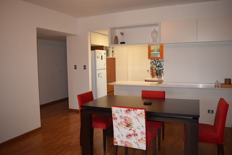 Departamento Lamarca - Estar, Comedor y Cocina D4-Arquitectos Salones de estilo moderno Madera Blanco