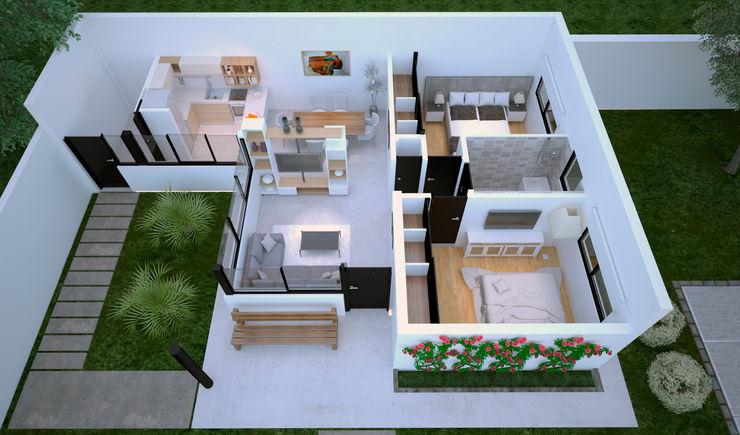 D4-Arquitectos منزل عائلي صغير خشب White