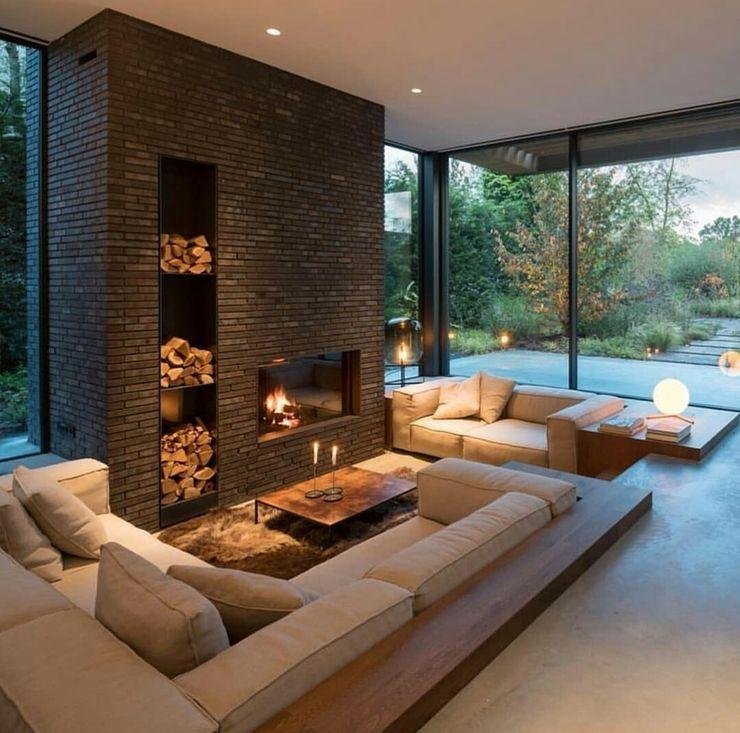 Casa in legno passiva Green Living Ltd Soggiorno moderno Legno massello