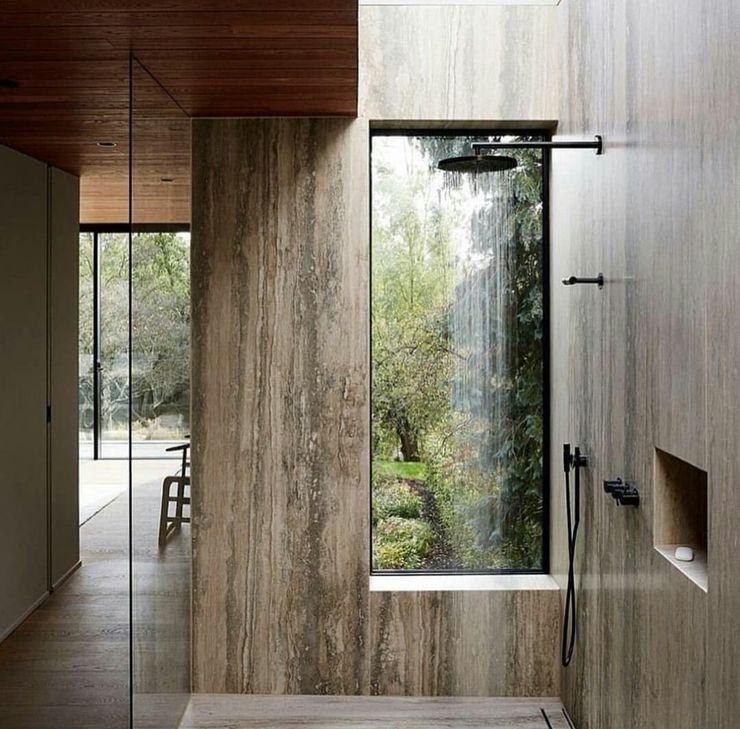 Casa in legno passiva Green Living Ltd Bagno moderno