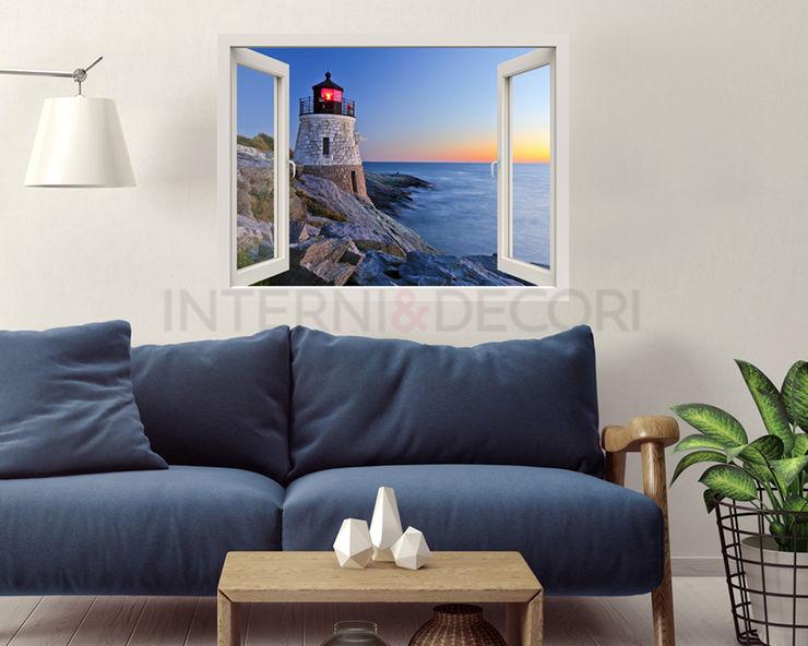 """Adesivo murale finestra tramonto """"VISTA SUL FARO"""" – Natura – Finestra illusione INTERNI & DECORI Soggiorno moderno PVC Blu"""