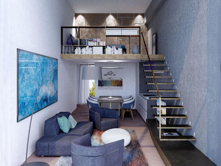 render zona giorno Marcello Cesini Architetto Soggiorno moderno Rame / Bronzo / Ottone Blu
