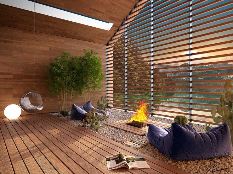 patio Marcello Cesini Architetto Giardino d'inverno moderno Legno Effetto legno