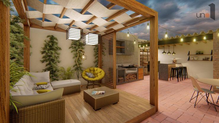 Terraza - Casa San Marcos - Aguascalientes (Méx) Punto Uno Arquitectos Balcones y terrazas modernos