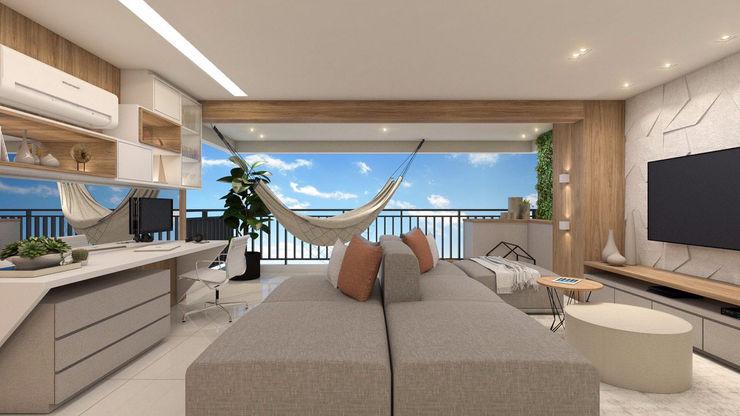 Sala de estar e home office Studio Side Arquitetura e Interiores Salas de estar modernas Efeito de madeira