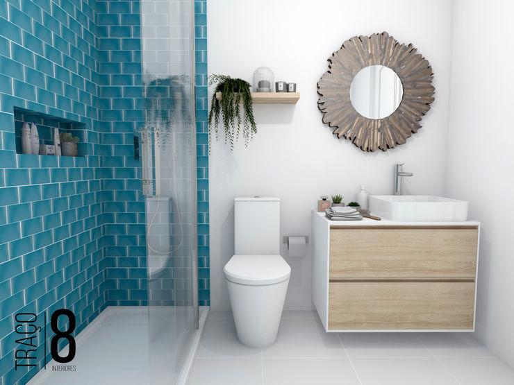 TRAÇO 8 INTERIORES Mediterranean style bathrooms Wood Blue