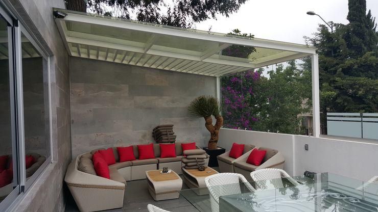Merkalum Modern style balcony, porch & terrace Glass White