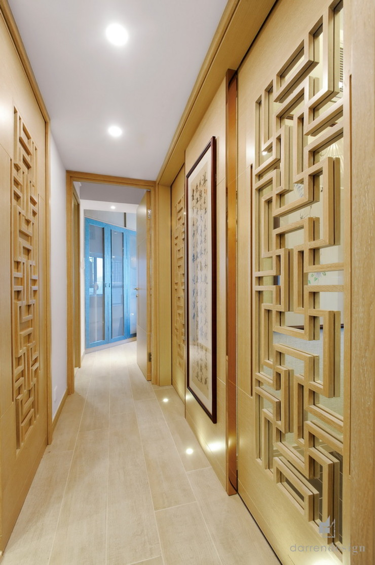 Corridor Darren Design & Associates 戴倫設計 Modern corridor, hallway & stairs Wood Wood effect