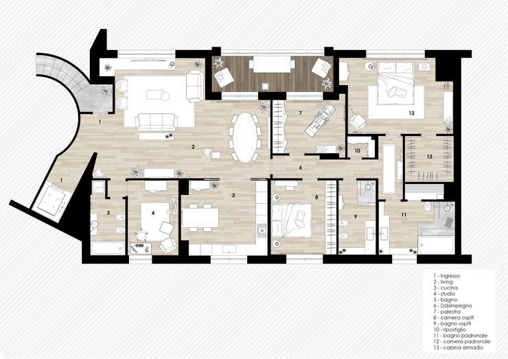 Planimetria viemme61 Studio moderno