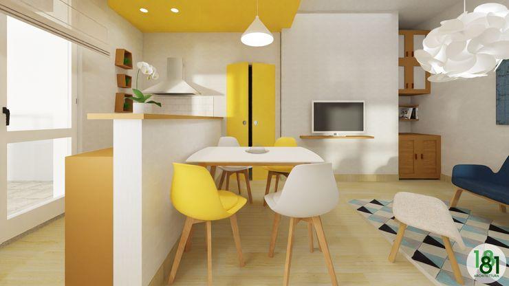 Zona pranzo con tavolo stile scandinavo Arch. Sara Pizzo - Studio 1881 Sala da pranzo in stile scandinavo Legno Giallo