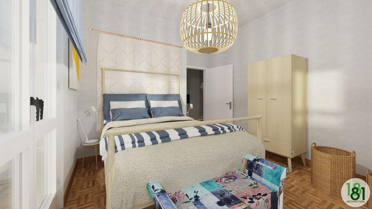 Camera matrimoniale stile scandinavo blu navy Arch. Sara Pizzo - Studio 1881 Camera da letto piccola Blu