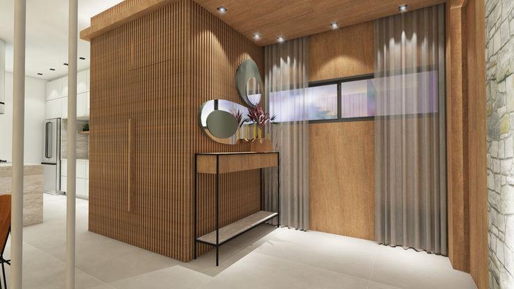 ZOMA Arquitetura Modern corridor, hallway & stairs
