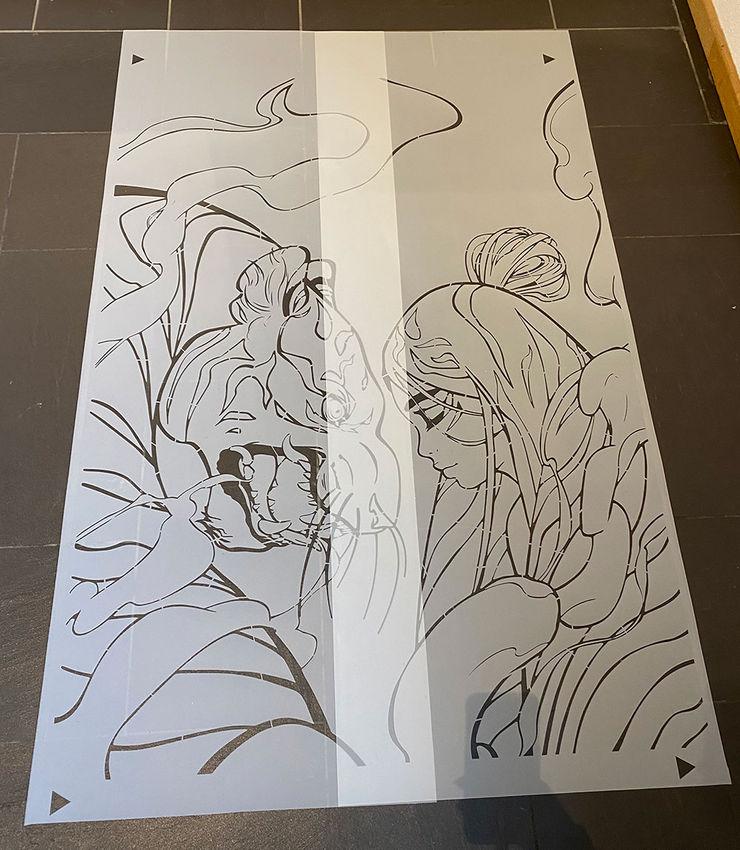 Strichzeichnung als Schablone zum »Selberausmalen« ab-design GmbH Asiatische Kinderzimmer