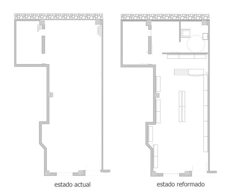 planimetría Ana Cabo Espacios comerciales de estilo moderno Aluminio/Cinc Beige