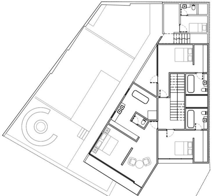 Segundo Nivel del proyecto ATELIERCENTRO Dormitorios minimalistas