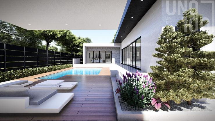 Casa al aire libre UNO100 Arquitectura Balcones y terrazas de estilo moderno