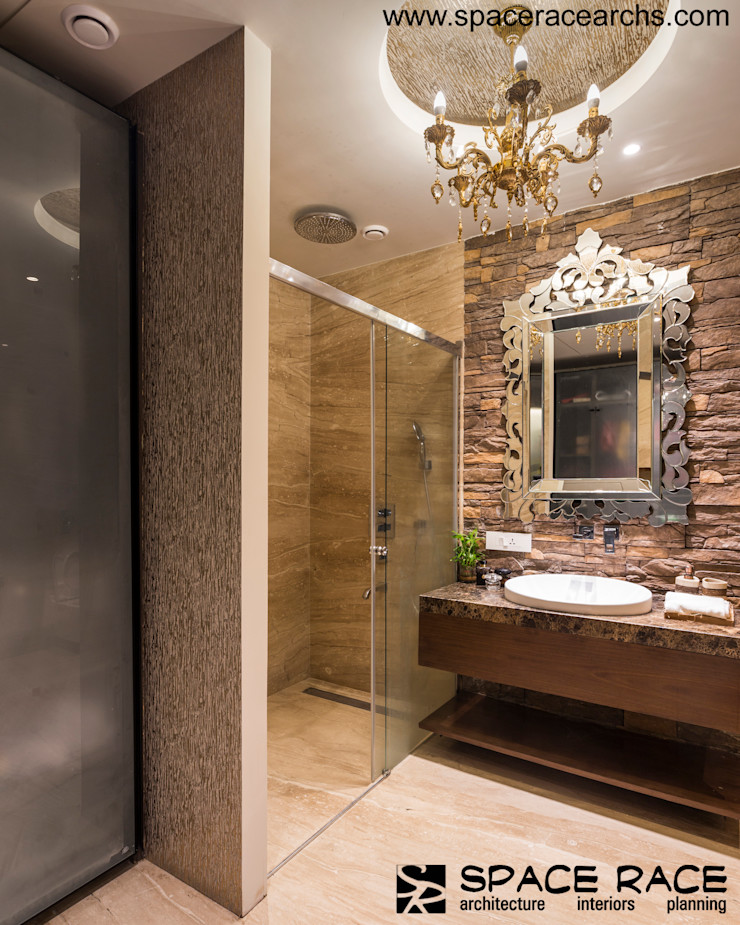 MASTER TOILET GROUND FLOOR SPACE RACE ARCHITECTS Minimalist bathroom