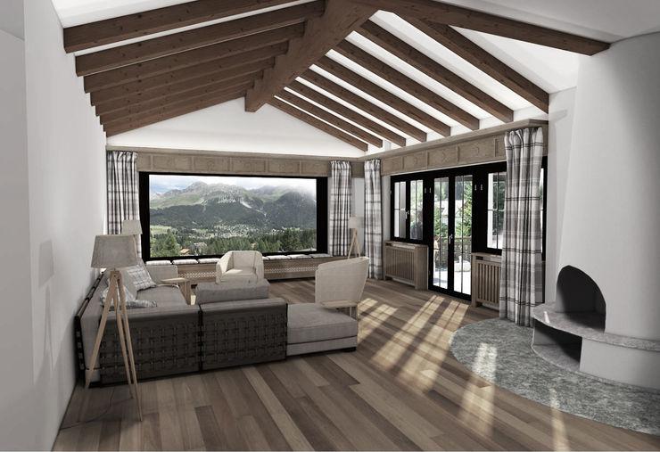 Wohnzimmer EG Ottagono+Rechsteiner Interior AG Rustikale Wohnzimmer