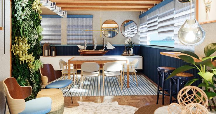 Studio Bruna Baiocchi Interiores Tropical style dining room Blue