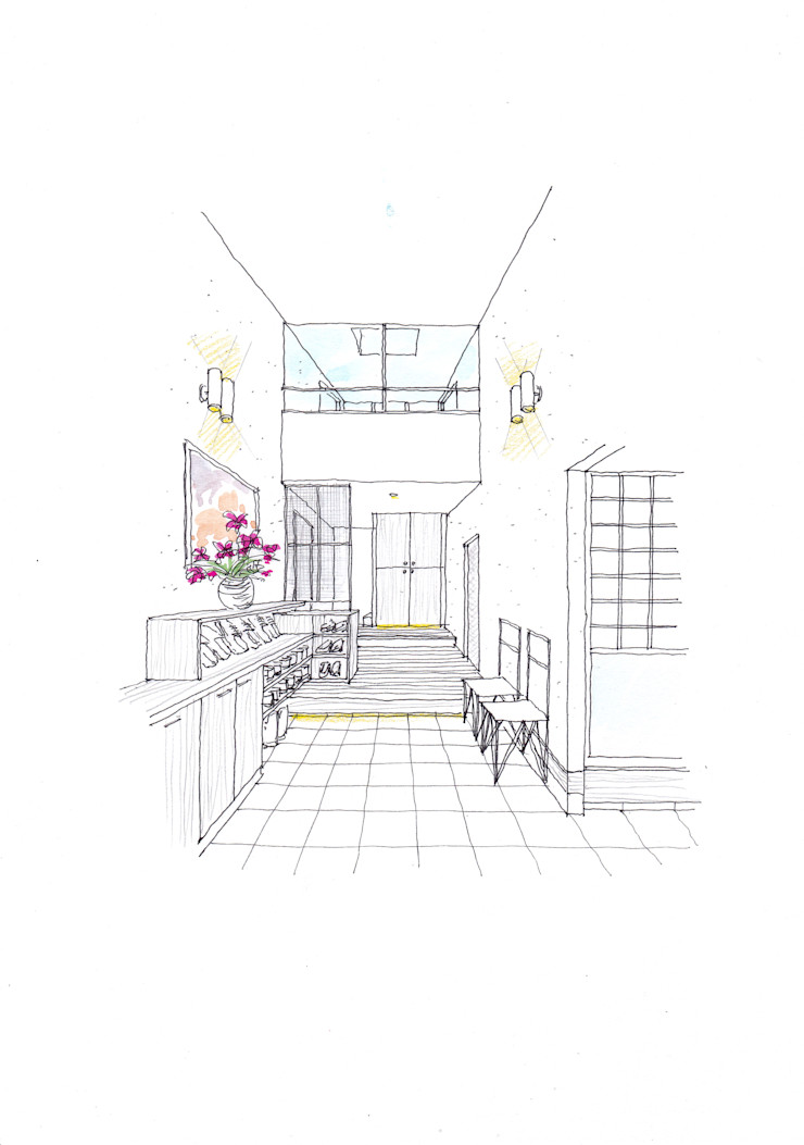 環アソシエイツ・高岸設計室 Asian style corridor, hallway & stairs