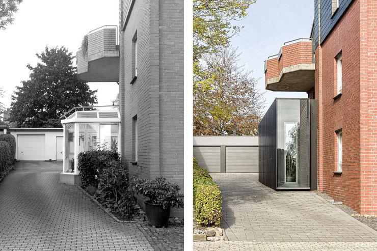 Vorher - Nachher ZHAC / Zweering Helmus Architektur+Consulting Mehrfamilienhaus Holzwerkstoff Schwarz