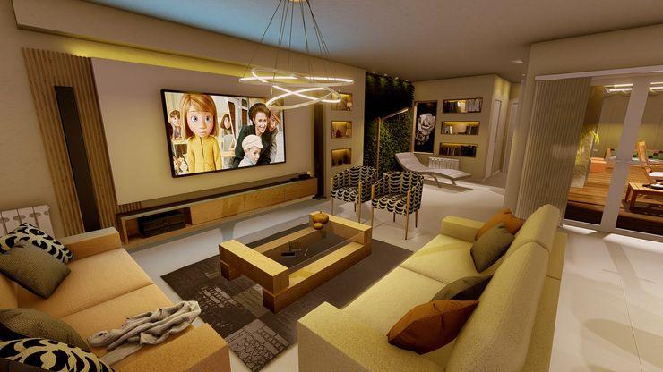 Living Aida tropeano& Asociados Salones modernos Derivados de madera Beige