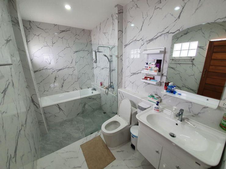 งานก่อสร้างบ้านคุณอั้ม จ.แพร่ Vbeyond Development Co.,Ltd ห้องน้ำ