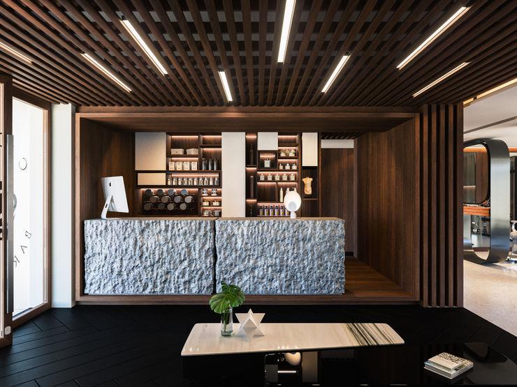 Barber shop Diamante Arquitectura Pasillos, vestíbulos y escaleras mediterráneos